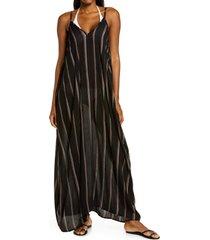 women's elan stripe cover-up maxi dress, size large - black