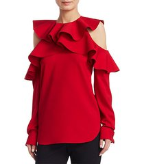 long sleeve cold-shoulder ruffle top