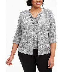 alex evenings plus size paisley-print sparkle jacket and top