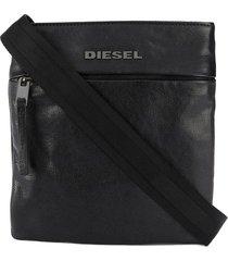 diesel sheepskin leather shoulder bag - black