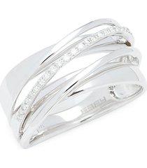 14k white gold & diamond criss cross band ring