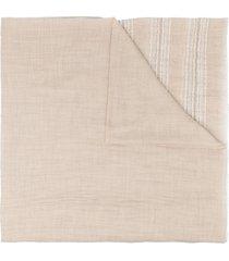 brunello cucinelli stripe-edge lightweight scarf - neutrals