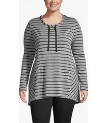 lane bryant women's active hooded high-low top 18/20 gray/black stripe