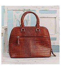 leather handle handbag, 'princess of delhi' (india)