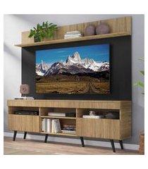 """rack com painel tv 65"""" madri multimóveis rustic/preto com prateleira e pés retrô preto"""