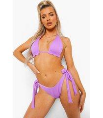 geribbeld bikini broekje met zijstrikjes, lilac