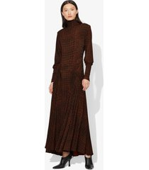 proenza schouler croc print long sleeve matte jersey turtleneck dress black/brown crocodile xs