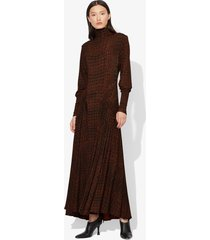 proenza schouler croc print long sleeve matte jersey turtleneck dress black/brown crocodile l