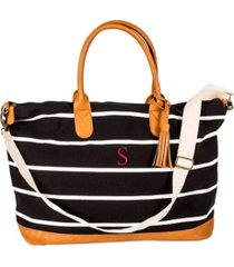 cathy's concepts personalized black striped oversized weekender tote