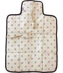 trocador portátil alan pierre baby sem bordado, tricoline 100% algodão - coroa bege
