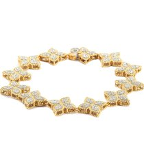 princess flower diamond 18k gold bracelet