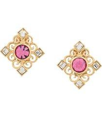 yves saint laurent pre-owned art deco clip on earrings - gold