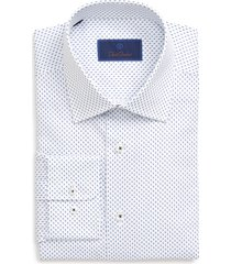 men's big & tall david donahue regular fit geometric dress shirt, size 17.5 - 36/37 - blue