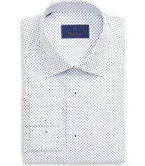 men's big & tall david donahue regular fit geometric dress shirt, size 17.5 - 36/37 - blue