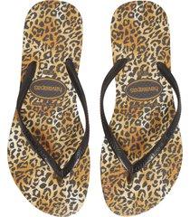 women's havaianas slim leopard flip flop, size 41/42 br - black