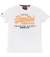 superdry wit stevig zacht slim fit t-shirt met feloranje motief - valt 1 maat kleiner