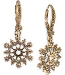 marchesa gold-tone crystal openwork leverback drop earrings