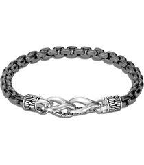 'asli classic chain' sterling silver rhodium box chain bracelet