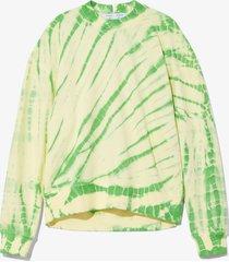 proenza schouler white label tie dye sweatshirt 10581 olive green/pale yellow l
