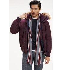 tommy hilfiger men's icon stripe scarf mid grey melange -