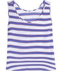 blusa mujer lineas m/s color azul, talla 8