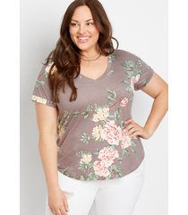 maurices plus size womens 24/7 brown floral drop shoulder classic tee