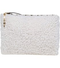 marni clutch bag in shearling in natural and honey color