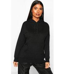 petite fleece basic hoodie, black