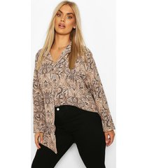 plus paisley print shirt, camel