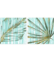 "empire art direct beach frond in gold i i frameless free floating tempered art glass wall art, 38"" x 38"" x 0.2"""