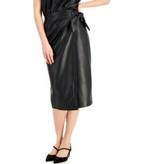 inc faux-leather faux-wrap skirt, created for macy's