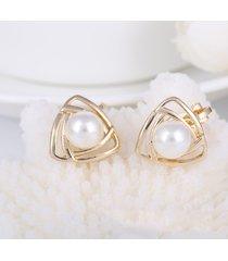 eleganti orecchini a forma di orecchio orecchini a forma di triangolo geometrici con perle a forma di perline orecchino orecchini per gioielli da donna