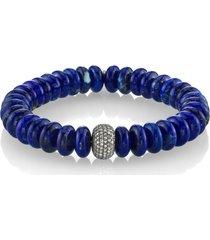 women's sheryl lowe lapis bracelet with pave diamonds