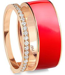 'berbere' diamond red lacquer rose gold two row band ring