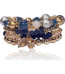 4 pz/set unisex bohemien braccialetto allungato a multistrati con perline di cristallo con pedente di foglia