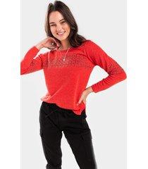 bevy nailhead trim sweatshirt - red