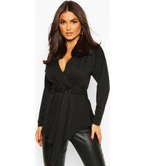 blouse in wikkelstijl met lange mouwen en sluiting taille, zwart