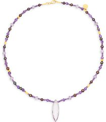 24k yellow gold, amethyst & 3mm freshwater pearl necklace