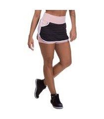 shorts saia feminino miss blessed fitness dry fit preto