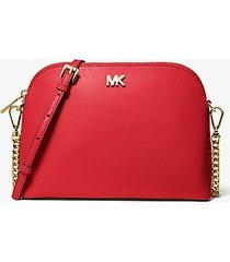 mk borsa a tracolla bombata grande in pelle a grana incrociata - rosso brillante (rosso) - michael kors