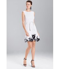 denim embroidered dress, women's, white, size 10, josie natori