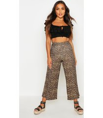 petite rib leopard print culottes, stone
