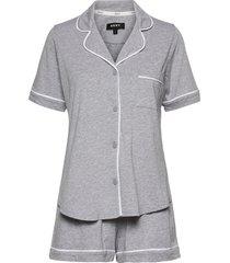 dkny new signature s/s top & boxer pj pyjama grijs dkny homewear