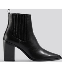 na-kd shoes pointy block heel boots - black