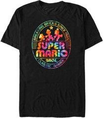 nintendo men's super mario rainbow tie-dye breaking bricks short sleeve t-shirt