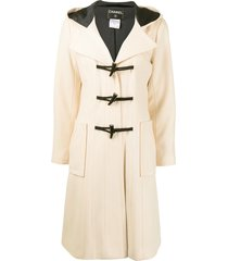 chanel pre-owned 2006 hooded duffle coat - neutrals