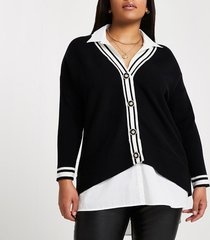 river island womens plus black shirt hybrid cardigan
