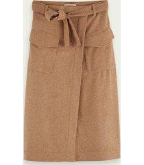scotch & soda wool-blend midi wrap skirt