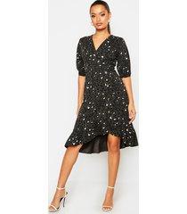 leopard print button detail frill shift dress, khaki