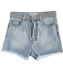 crystal belt denim shorts